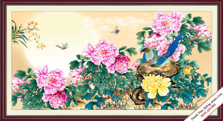 tranh hoa mau don trung quoc treo tuong