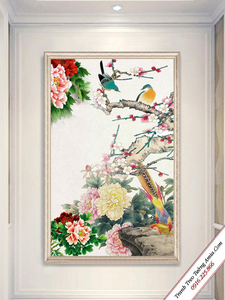 tranh treo tuong kho doc chim cong va hoa mau don