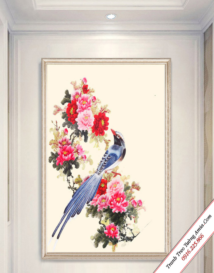 tranh treo tuong kho doc chu chim tren nhanh hoa mau don