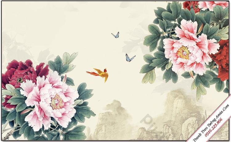tranh treo tuong op phong thuy nhanh hoa mau don kho mot tam