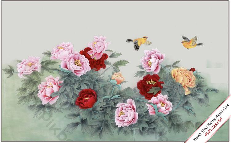 tranh treo tuong phong canh khom hoa mau don nghe thuat