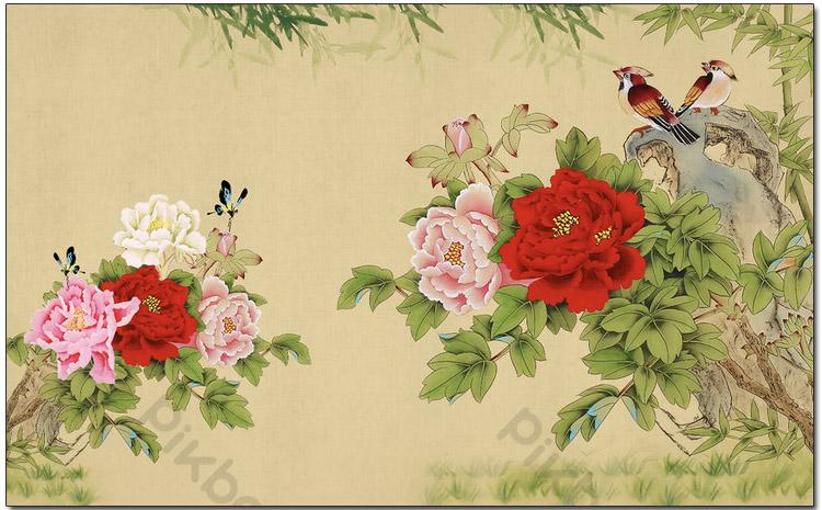 tranh treo tuong phong ngu doi chim tren nhanh hoa mau don