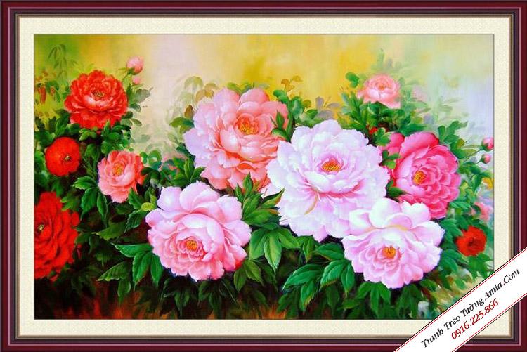 tranh treo tuong phong thuy hoa mau don