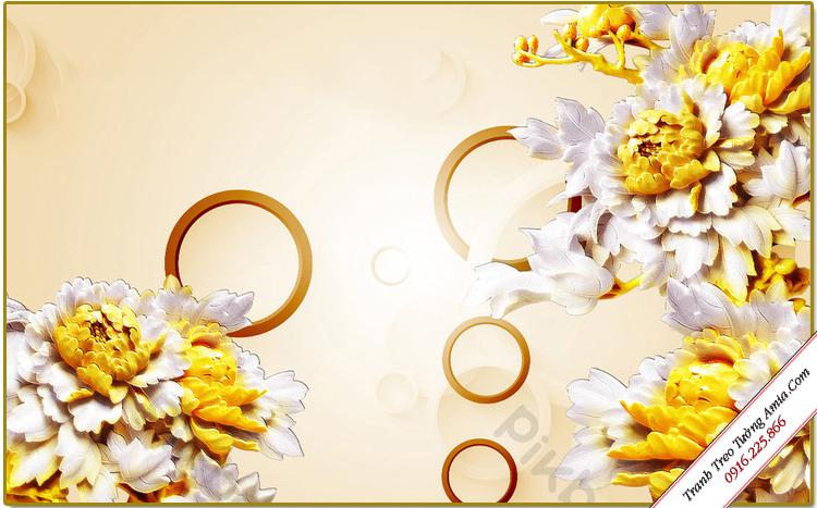 tranh treo tuong phong thuy hoa mau don in gia 3d