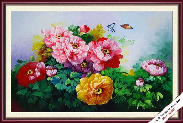 tranh khom hoa mau don ve son dau