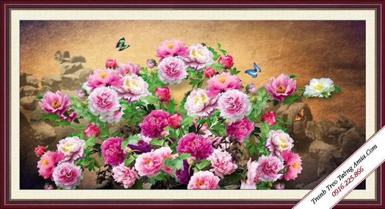 tranh trang tri phong khach vuon hoa mau don