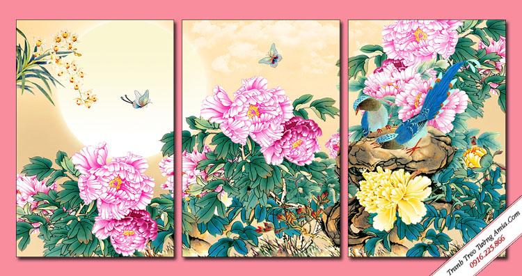 tranh vuon hoa mau don trung quoc