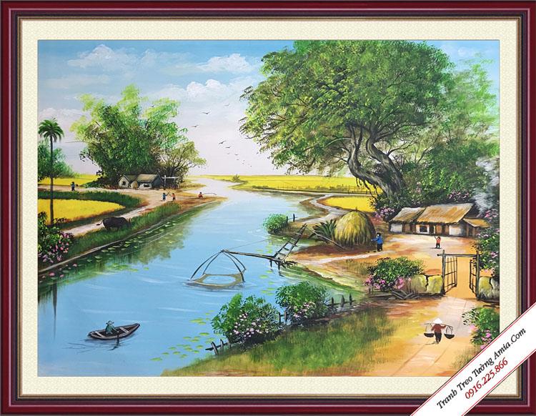 tranh phong canh dep canh dong lua chin
