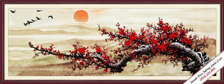 tranh hoa dao dep treo phong khach