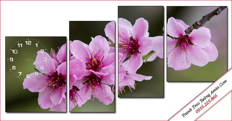 tranh canh hoa dao treo tuong dep ghep 4 tam