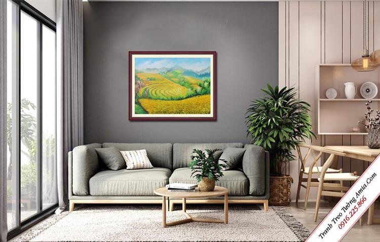 tranh phong canh ruong lua bac thang ve son dau