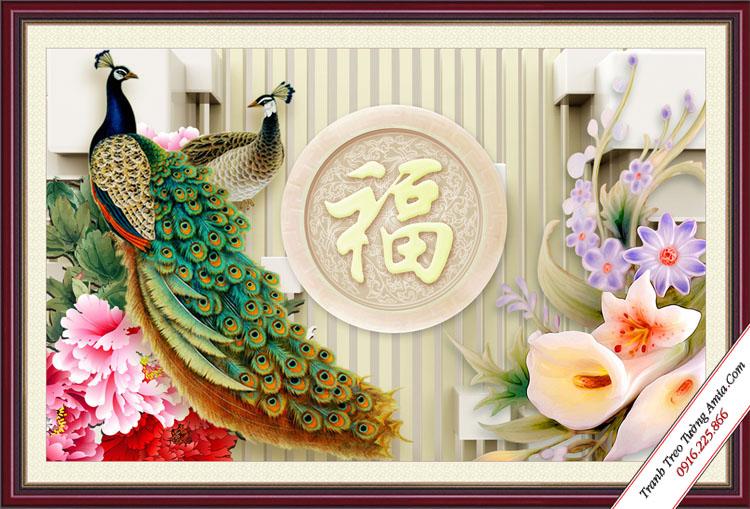tranh 3d phong thuy doi chim cong