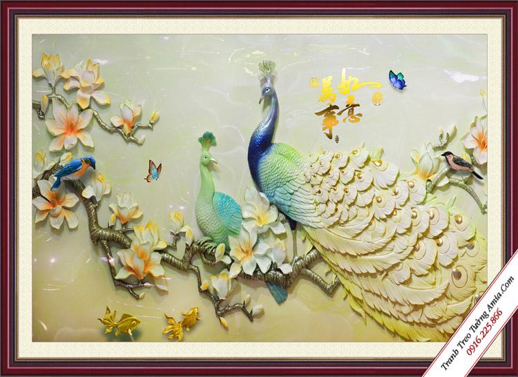 tranh 3d treo phong ngu doi chim cong