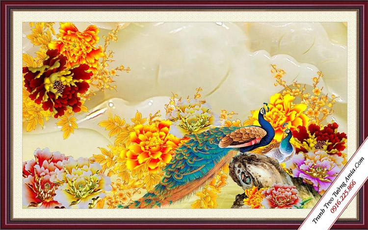 tranh 3d treo tuong chim cong va hoa mau don