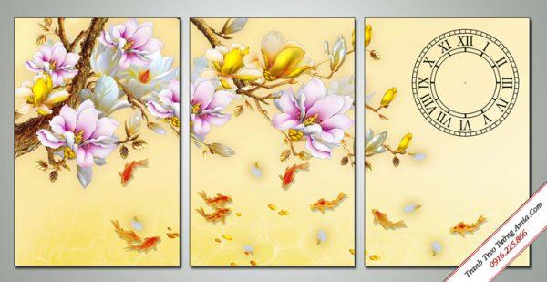 tranh ca chep va hoa moc lan phong thuy