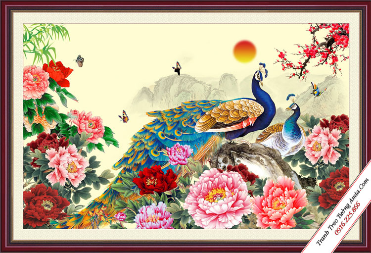 tranh chim cong dep nhu ve treo tuong phong ngu