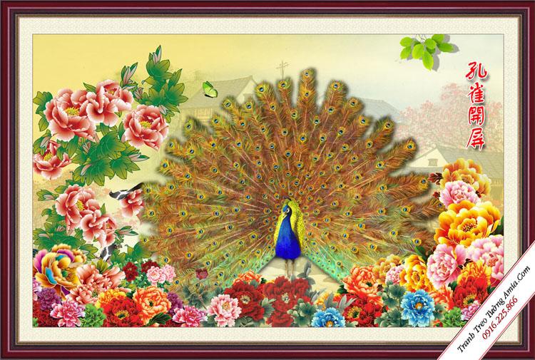 tranh chim cong xoe canh ben hoa mau don