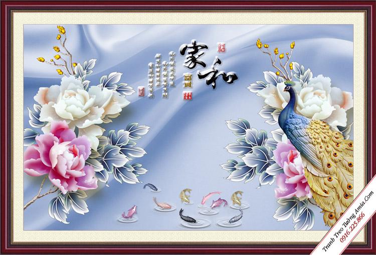 tranh dep chim cong 3d treo tuong