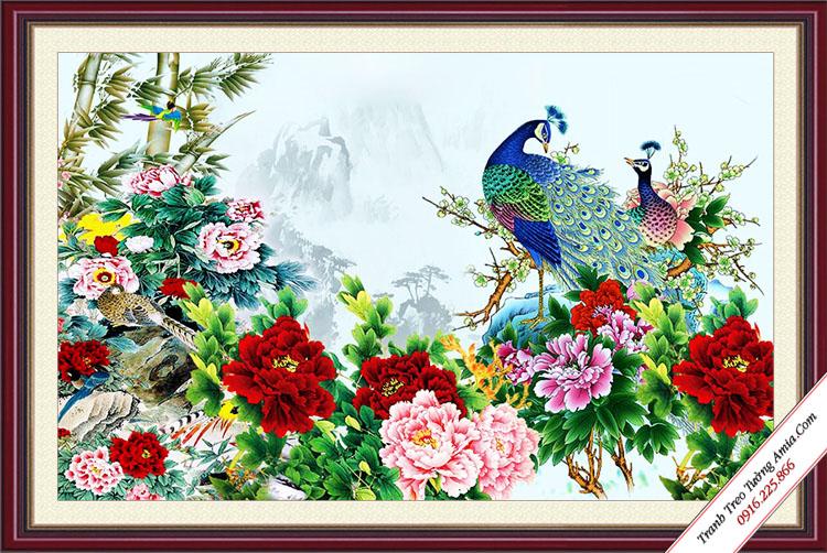 tranh dep doi chim cong va hoa mau don