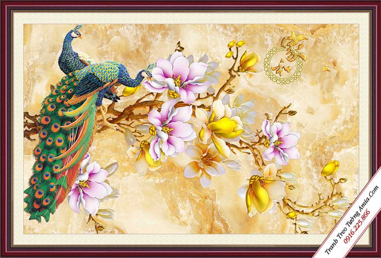 tranh doi chim cong tranh nhanh hoa moc lan