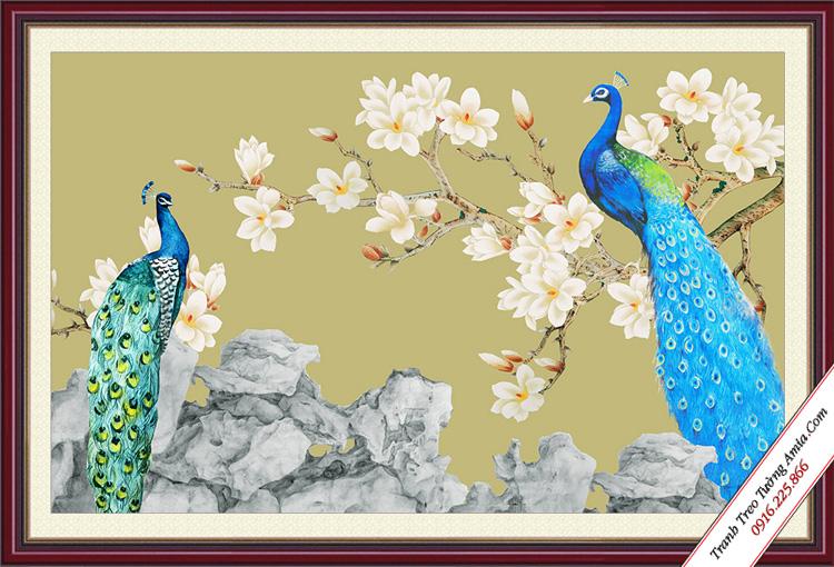 tranh doi chim cong va hoa mai trang treo phong ngu