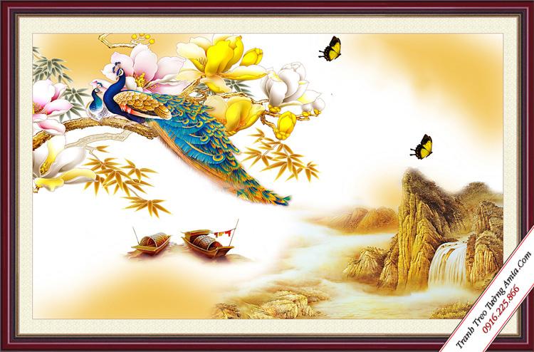 tranh doi chim cong va hoa moc lan treo phong ngu vo chong
