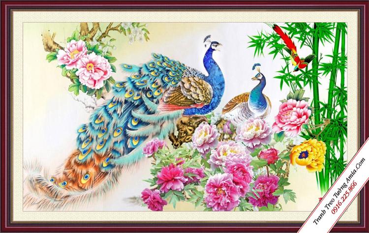 tranh doi chim cong phong thuy va hoa mau don
