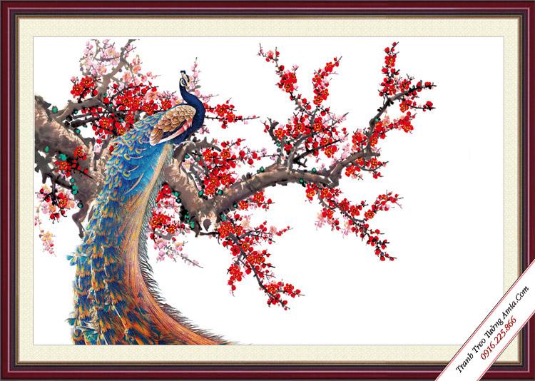 tranh hoa dao va chim cong dep