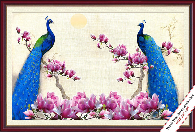 tranh hoa moc lan va doi chim cong