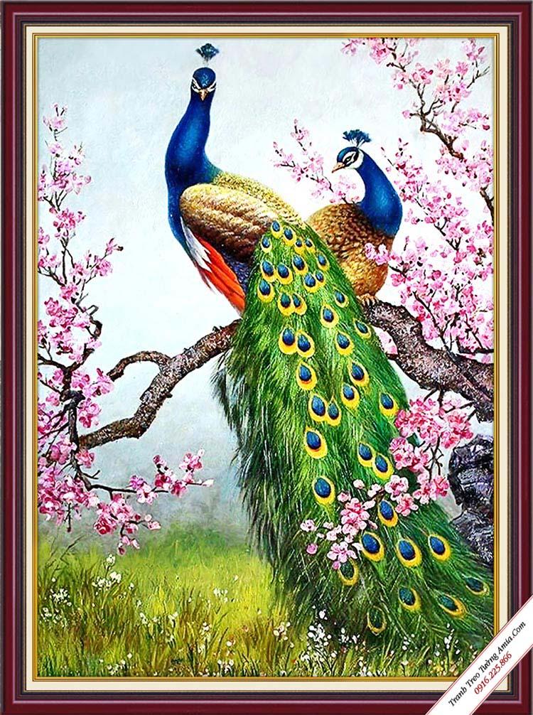 tranh kho doc hoa dao va doi chim cong