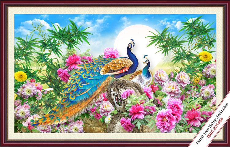 tranh mung cuoi doi chim cong va hoa mau don