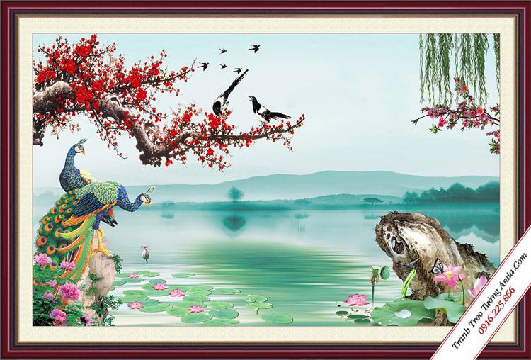 tranh phong canh doi chim cong ben ho nuoc