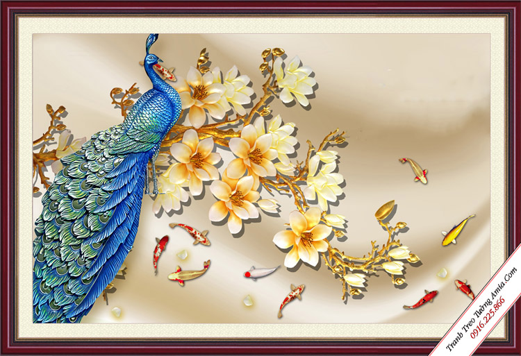 tranh phong thuy chim cong ruoc tai loc
