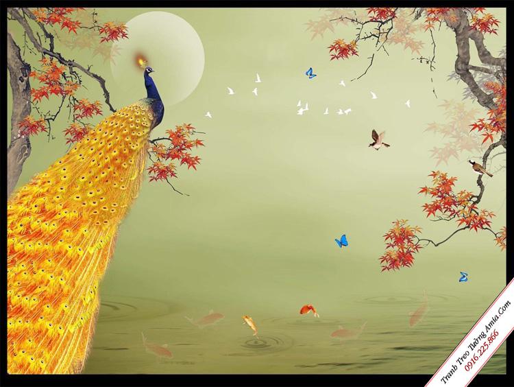 tranh treo tuong phong thuy chim cong duoi anh trang