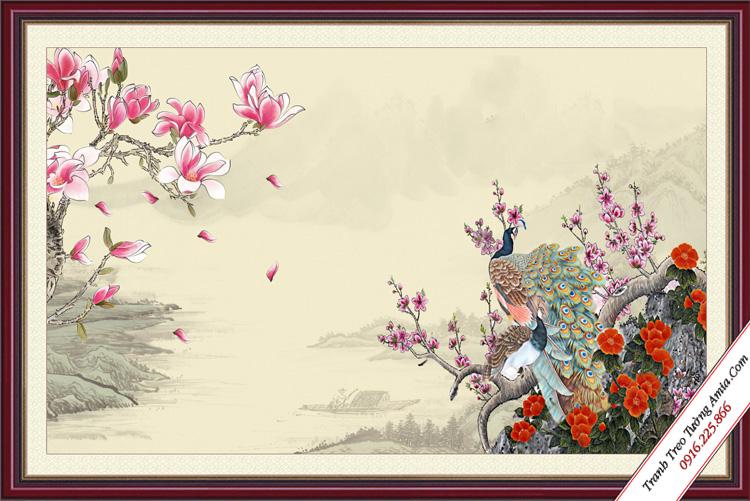 tranh phong thuy doi chim cong treo phong ngu