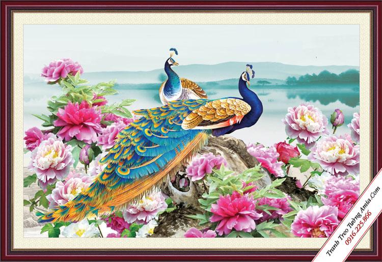 tranh phong thuy hoa mau don va doi chim cong