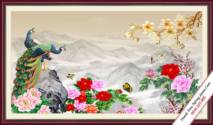 tranh phong thuy treo phong ngu vo chong doi chim cong