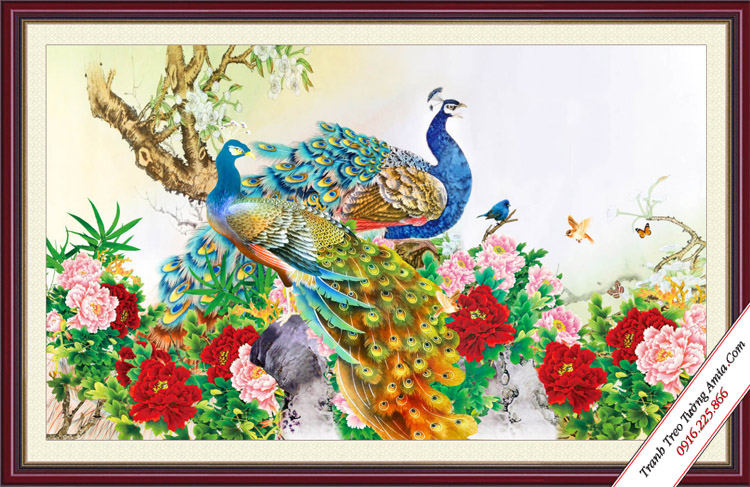 tranh qua tang cuoi doi chim cong va hoa