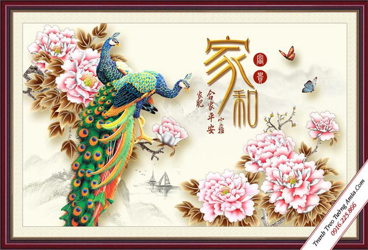 tranh tinh duyen doi chim cong va hoa mau don