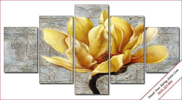 tranh trang tri hoa moc lan ghep bo 5 tam
