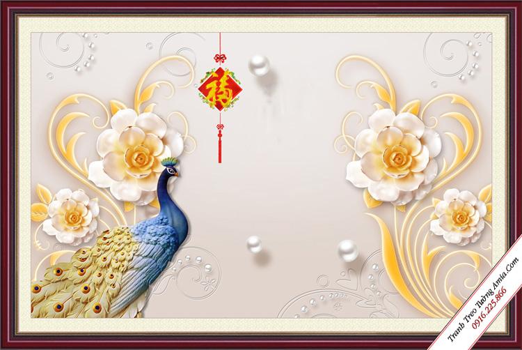 tranh chim cong dep trang tri phong khach