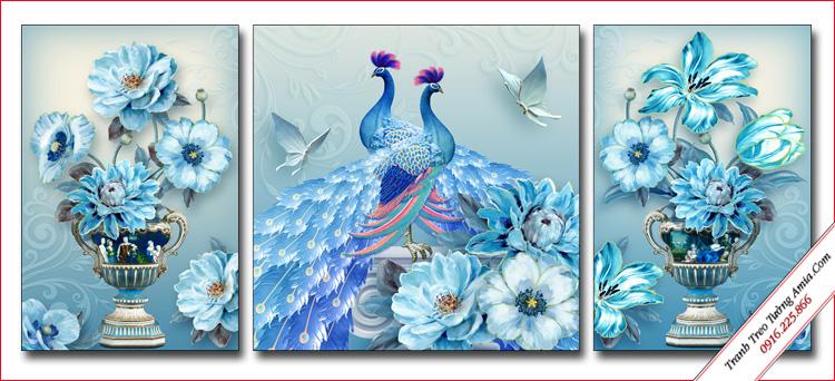 tranh trang tri phong ngu doi chim cong