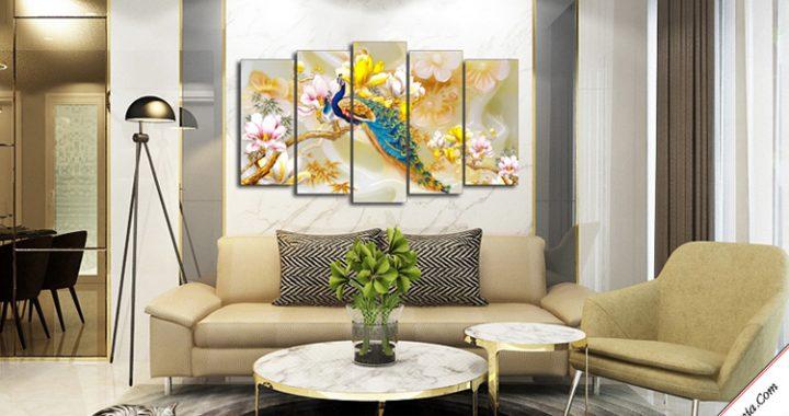 tranh treo phong khach song phung tren nhanh hoa moc lan