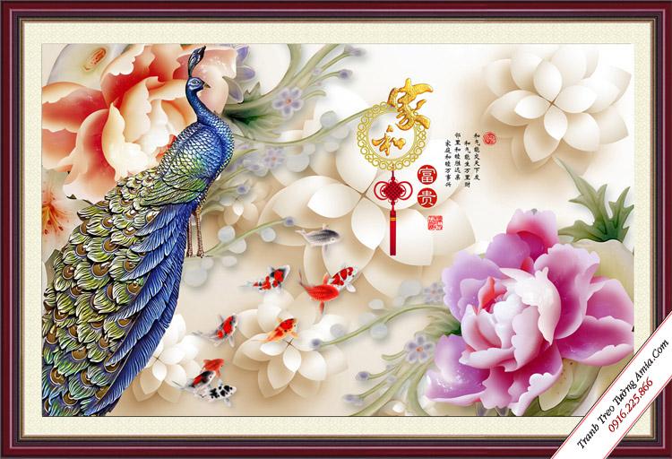 tranh treo phong lam viec chim cong 3d