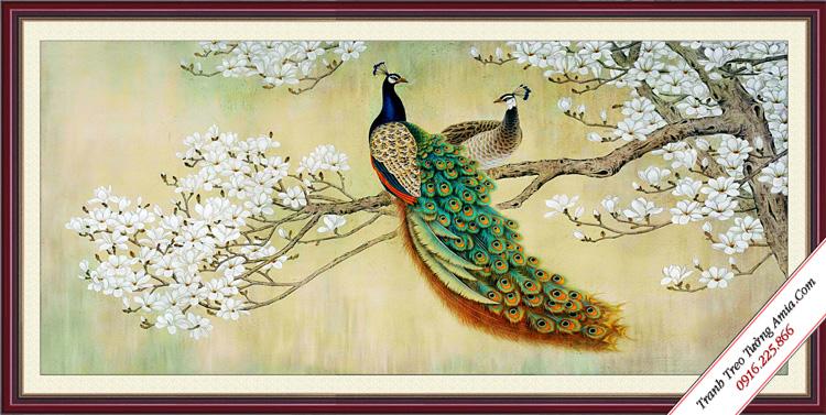 tranh treo tuong kho lon doi chim cong