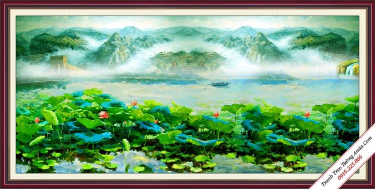 tranh phong canh dam hoa sen trung quoc treo tuong