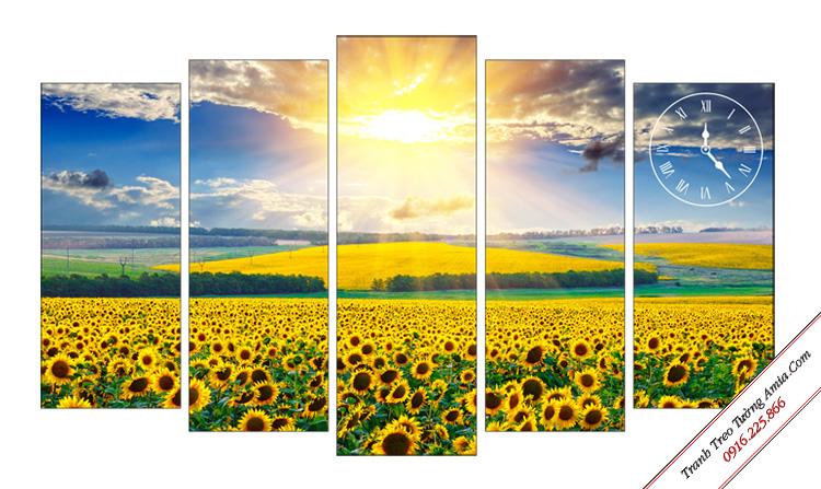 tranh phong canh mua ha canh hoa hoa huong duong