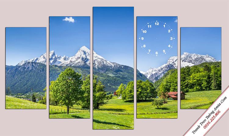 tranh phong canh mua ha ve tren thao nguyen xanh treo tuong dep
