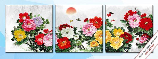 tranh hoa mau don phong thuy treo phong ngu