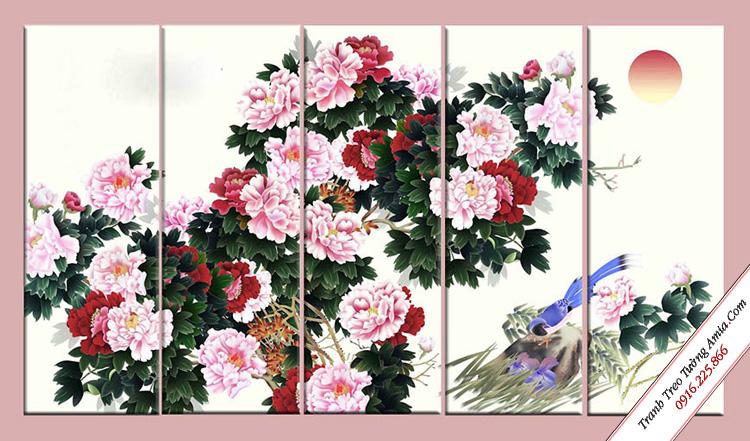 tranh treo phong ngu phong thuy hoa mau don